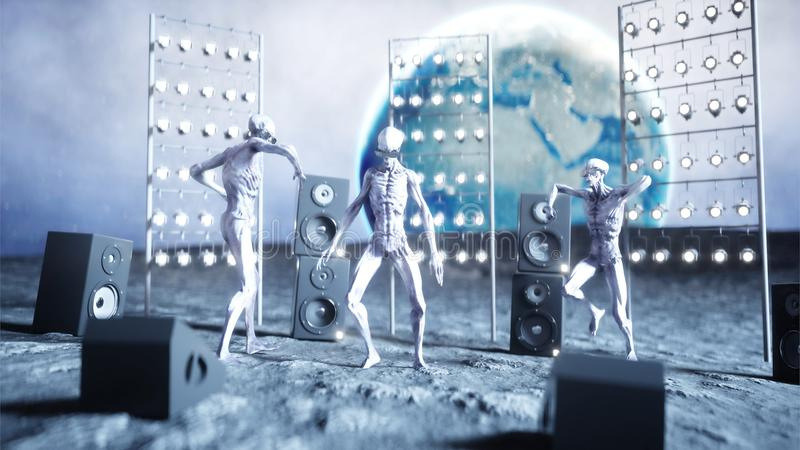 Funny aliens dancing on the moon. UFO concept. Earth on background. Space party. 3d rendering. royalty free illustration
