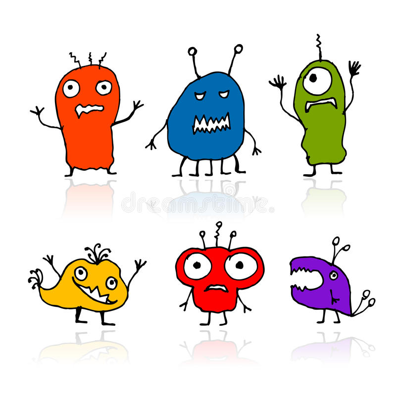 Download Funny Aliens, Sketch Drawing For Your Design Stock Vector - Image: 22097669
