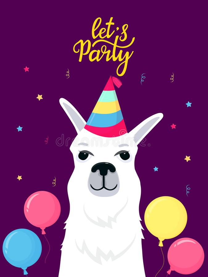 Funny alpaca in a striped hat. Let`s Party hand lettering. Greeting card with balloon for birthday and celebration royalty free illustration