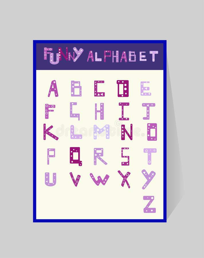Funny alphabet for children. ABS design with a geometric pattern. Vector cartoony violet letters on white background. stock illustration