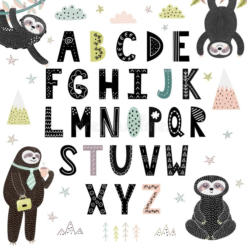 Funny alphabet with cute sloths. Abc for children. Vector illustration royalty free illustration