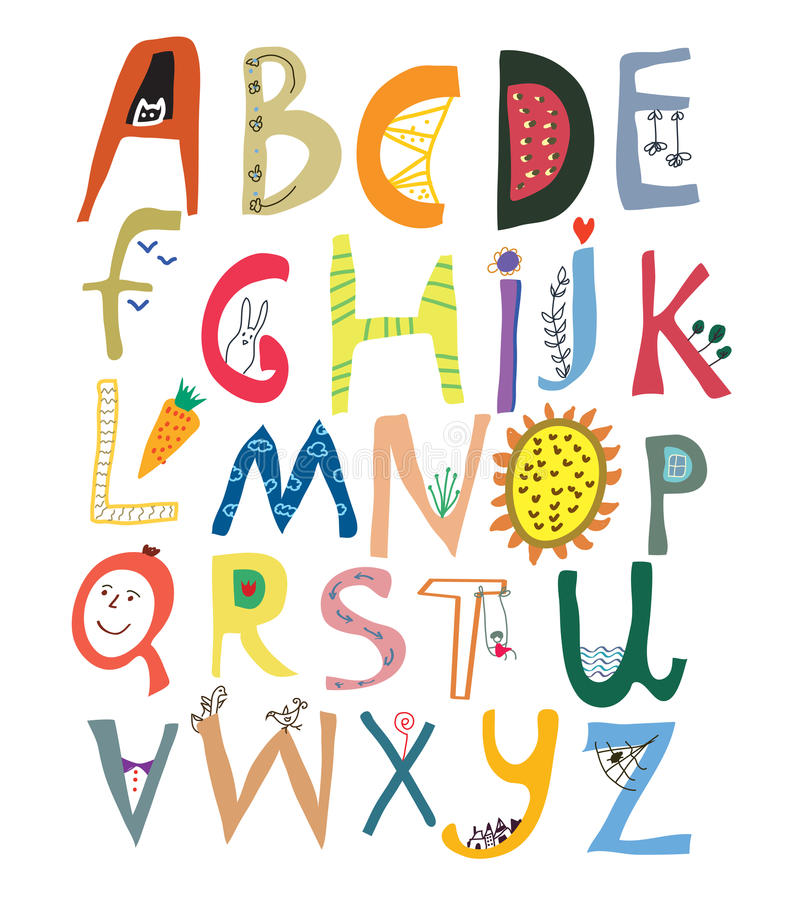 Funny alphabet for kids with faces, vegetables, flowers royalty free illustration