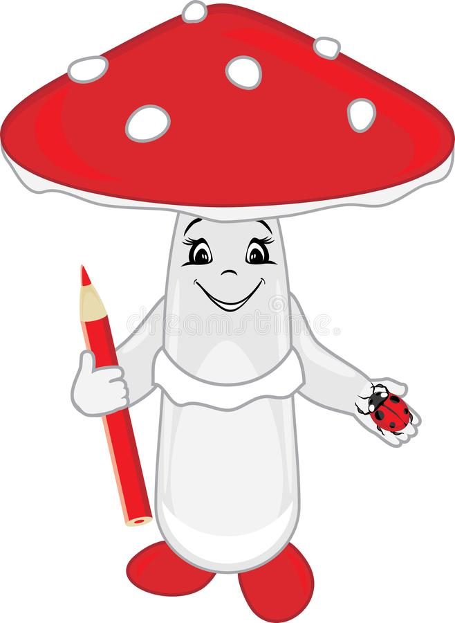 Funny amanita with a pencil and a ladybird in his hands stock images