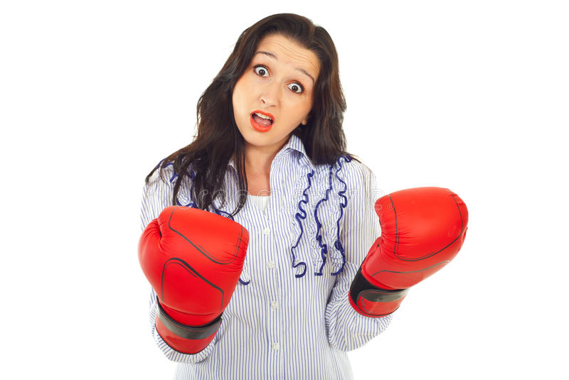 Funny Amazed Woman With Gloves Stock Image