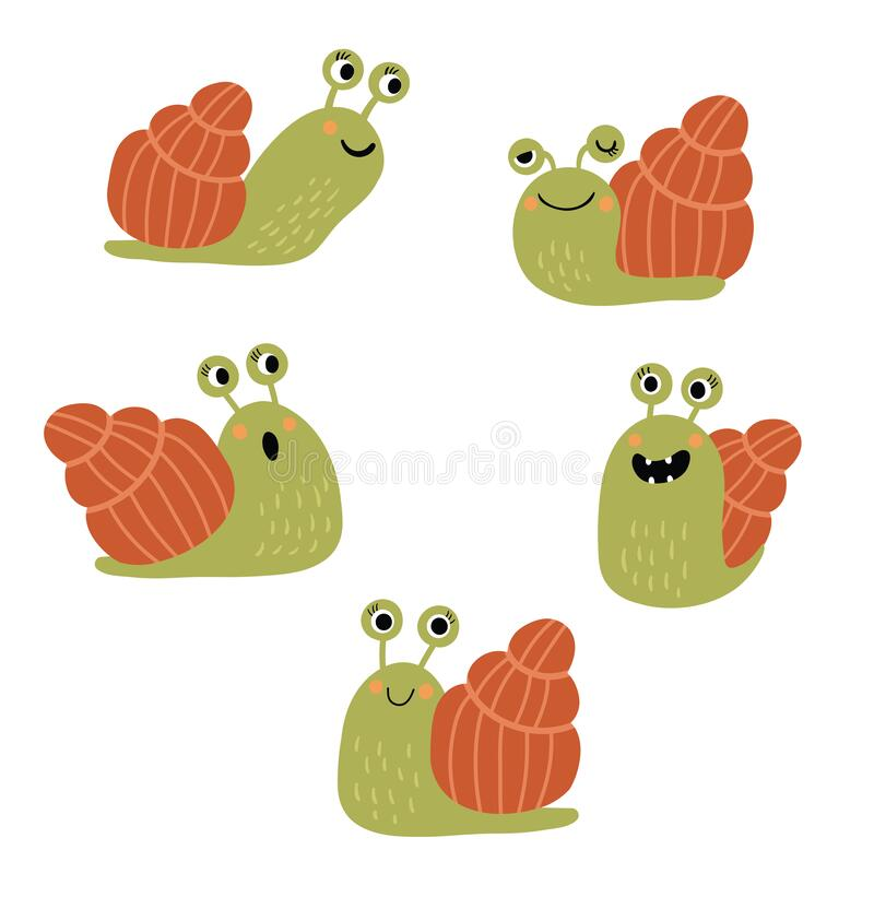 Free Funny And Cute Snail In Different Poses Stock Photo - 186500470