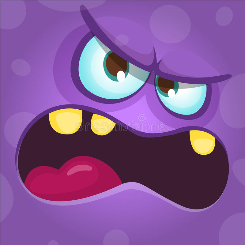 Funny angry cartoon monster face. Halloween illustration. Prints design for t-shirts. stock illustration