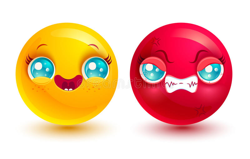 Funny and angry emoji vector illustration