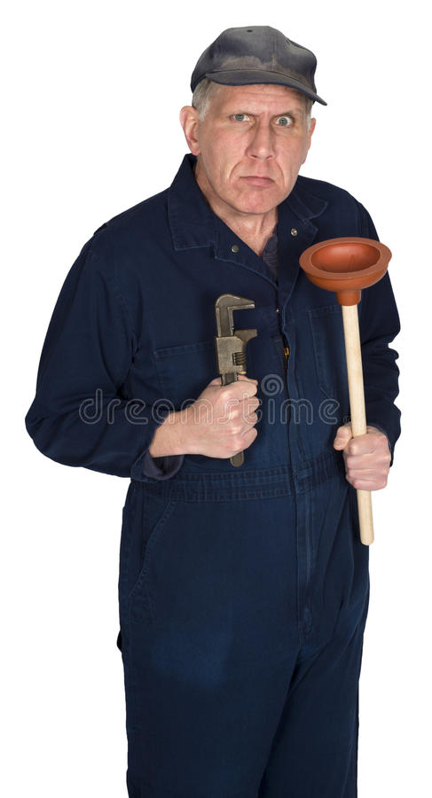 Funny Angry Plumber, Contractor, Handyman, Isolated stock photography