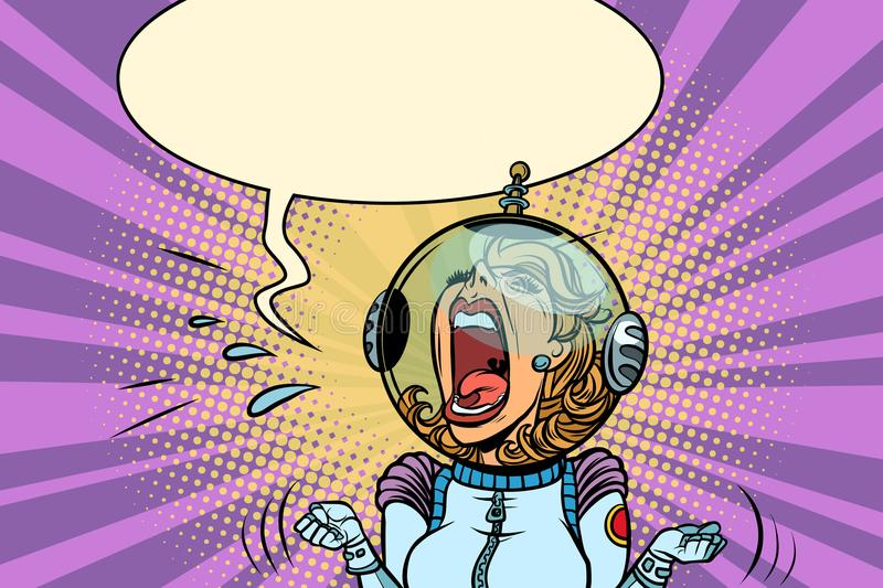 Funny angry woman astronaut vector illustration