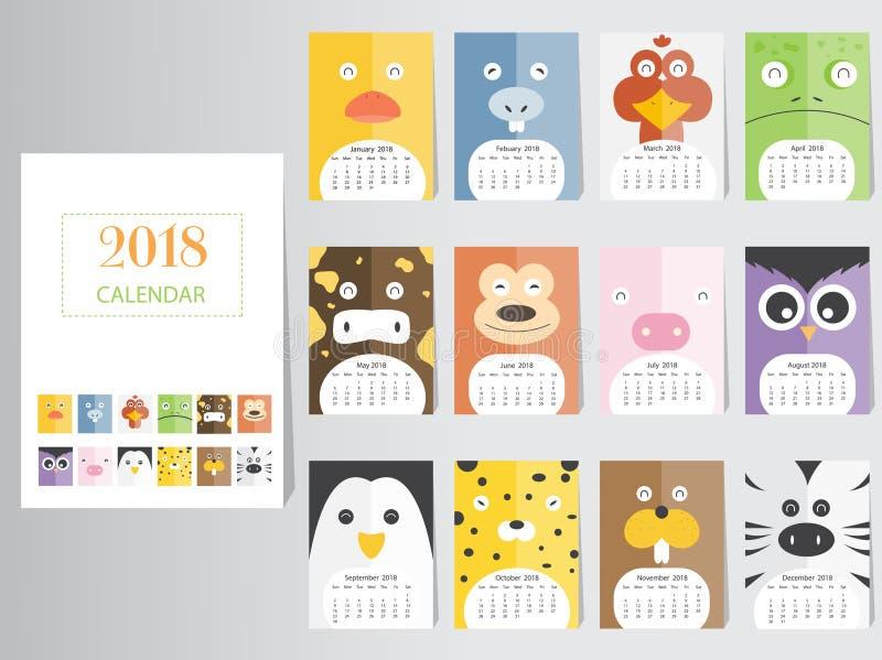 Calendar Illustration Ideas : Funny animal calendar design the year of dog