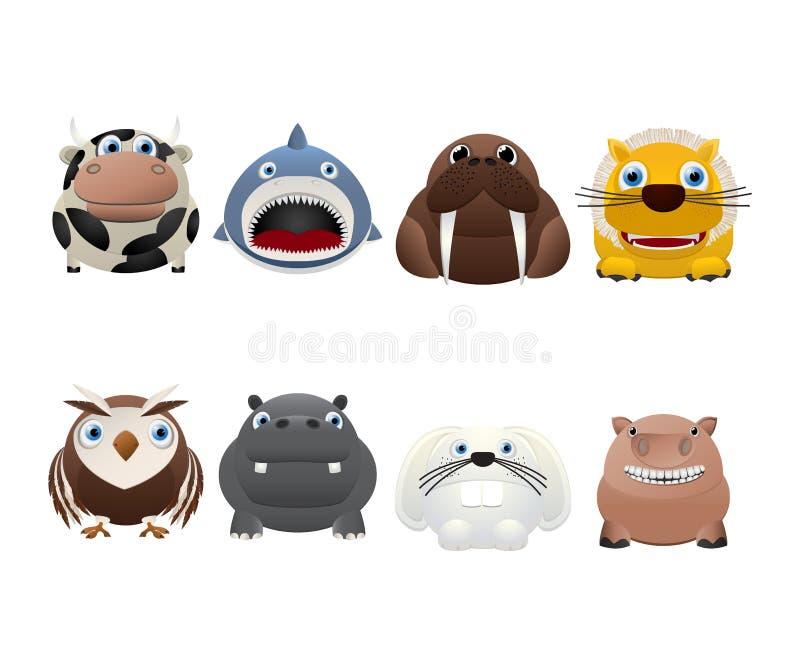 Funny animal icons stock illustration