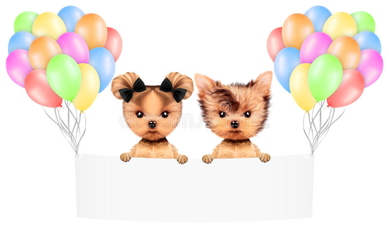 Funny animal keep a banner with balloons vector illustration