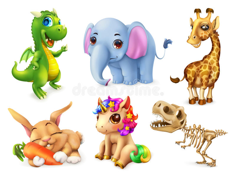 Funny animal set. 3d vector icon vector illustration