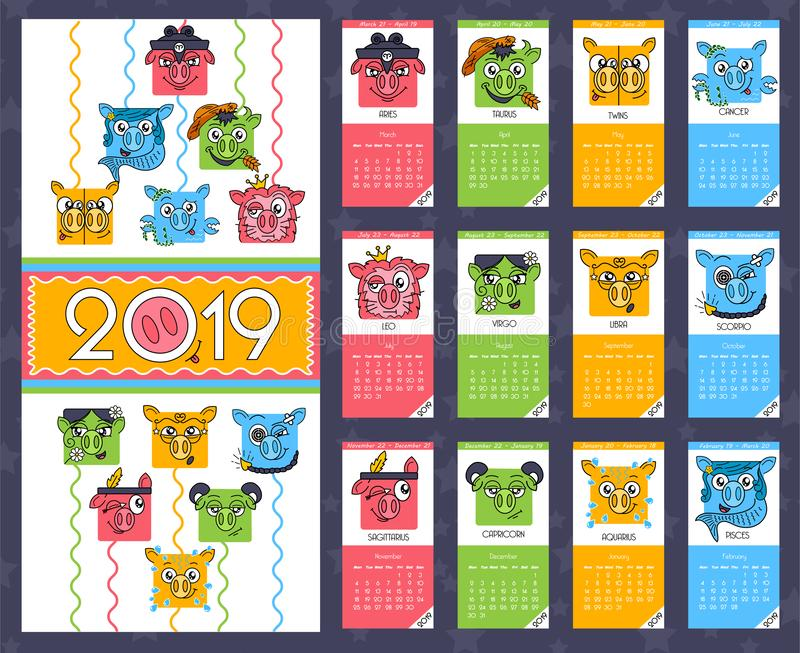 Funny animal, stylized monthly calendar with pigs, the year of the pig monthly cards templates. сhinese horoscope icon in royalty free illustration
