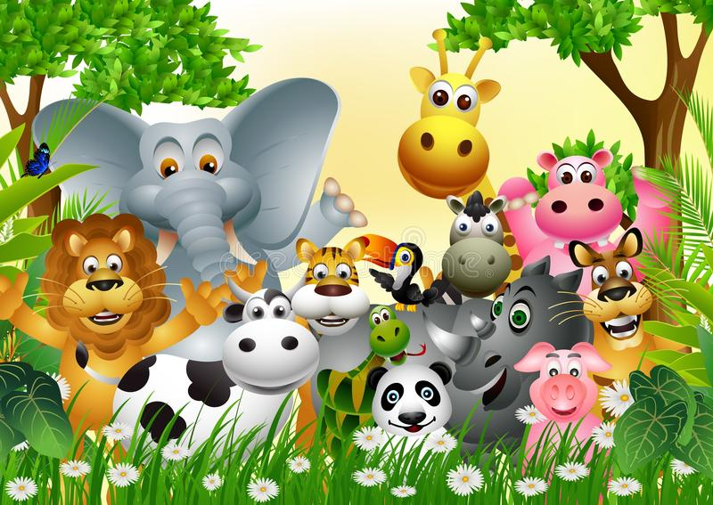 Funny animal wildlife cartoon collection stock illustration