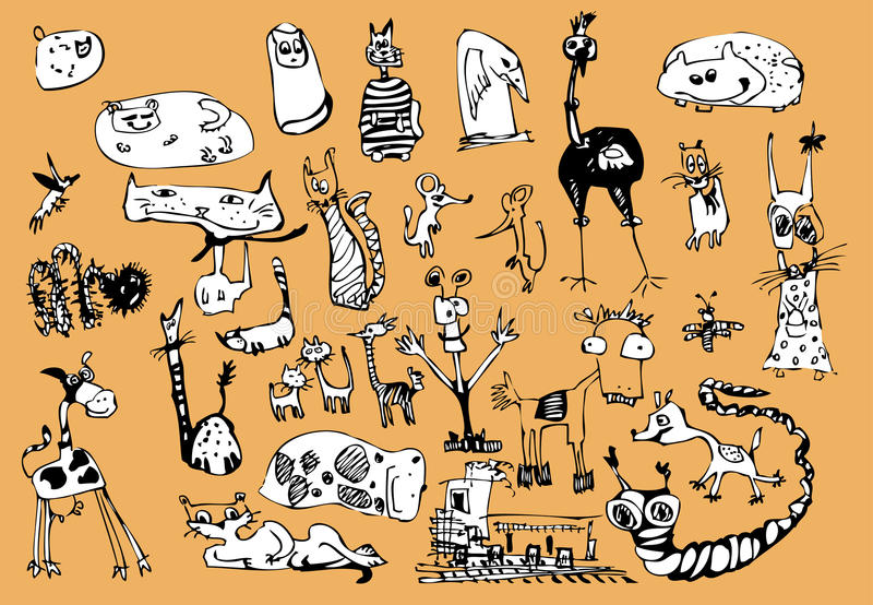 Funny animals. Black and white drawing funny animals vector illustration