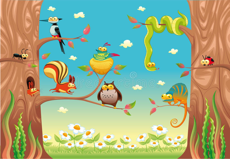 Download Funny animals on branches. stock vector. Image of daisy - 18137248