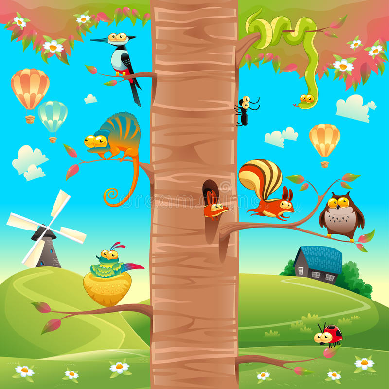 Funny animals on branches. royalty free illustration