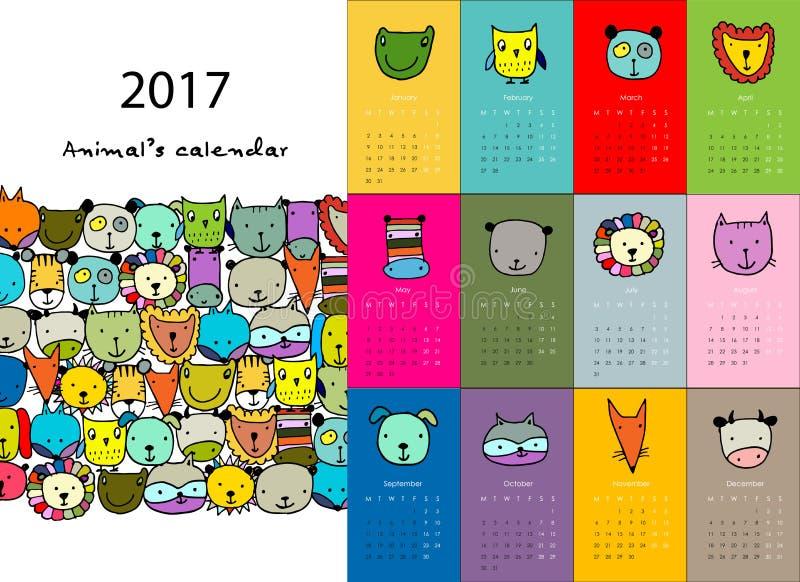 Illustration Calendar Design : Funny animals calendar design stock vector