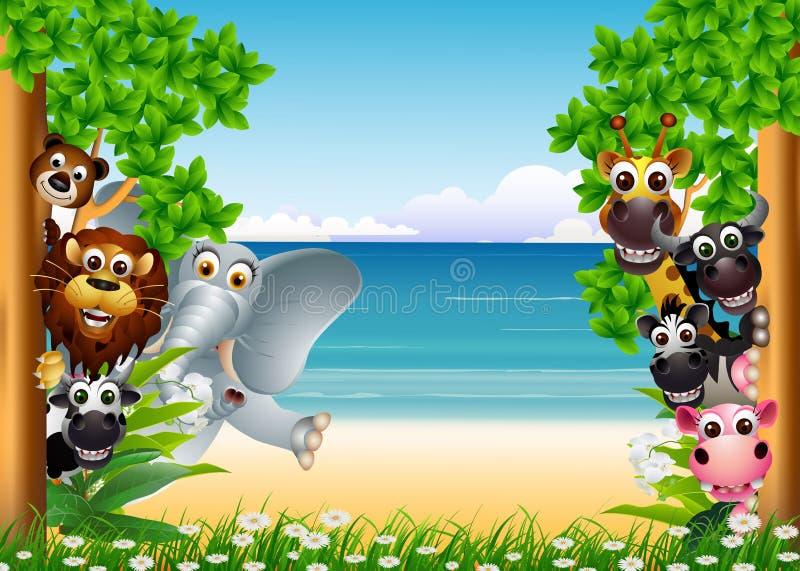 Funny animals cartoon. Vector illustration of funny animals cartoon stock illustration