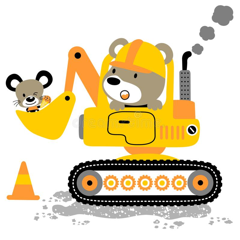 Funny animals cartoon with construction equipment stock illustration