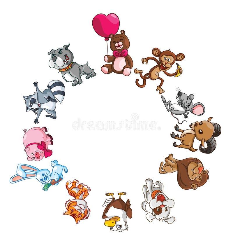 Funny Animals Circle Banner stock illustration