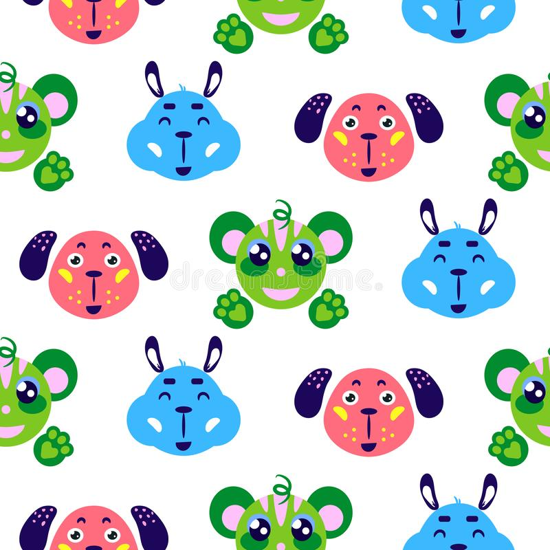 Funny animals cute smiling childish vector colorful seamless repeat pattern. vector illustration