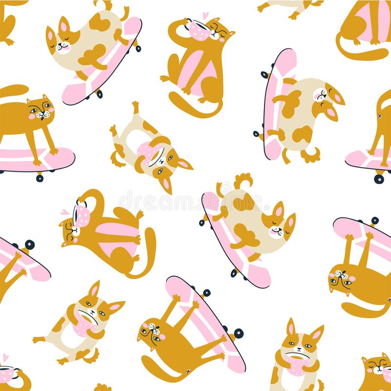 Funny animals drink coffee and ride a skateboard. Vector seamless pattern with cats and dogs. stock illustration
