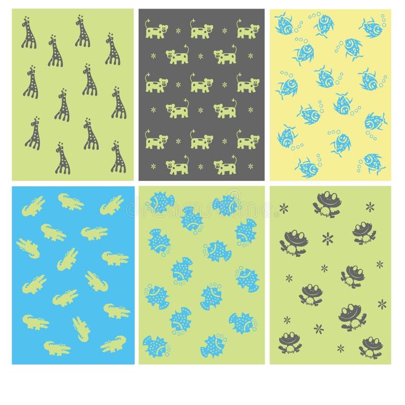 Funny animals kids pattern royalty free illustration