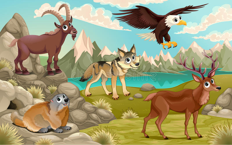 Funny animals in a mountain landscape royalty free illustration