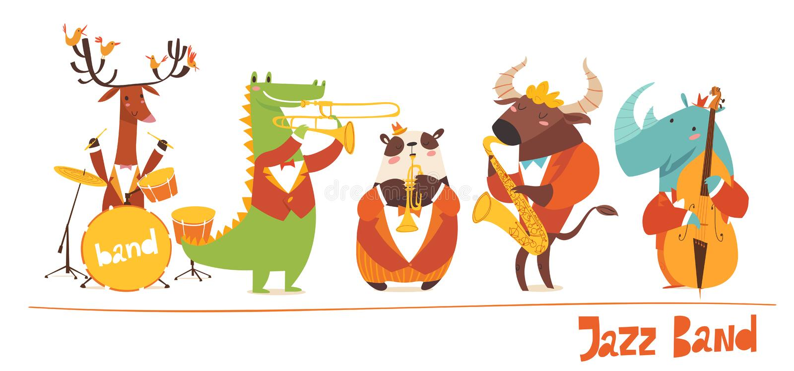 Funny animals musicians vector characters. Jazz music royalty free illustration