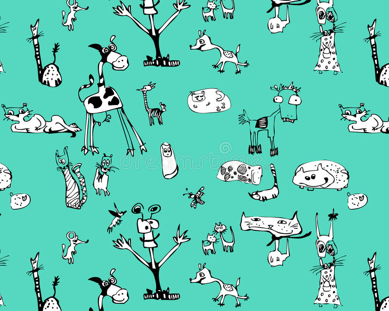 Funny animals. Seamless pattern funny black and white animals royalty free illustration