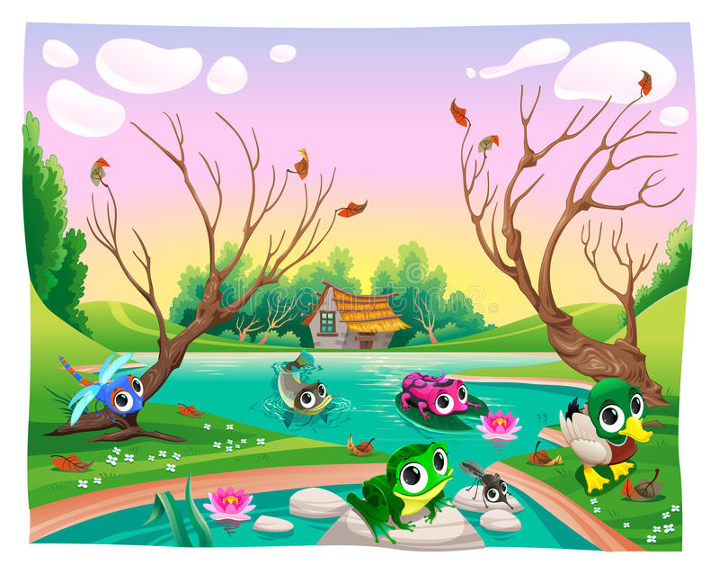 Funny animals in the pond. Cartoon vector illustrations