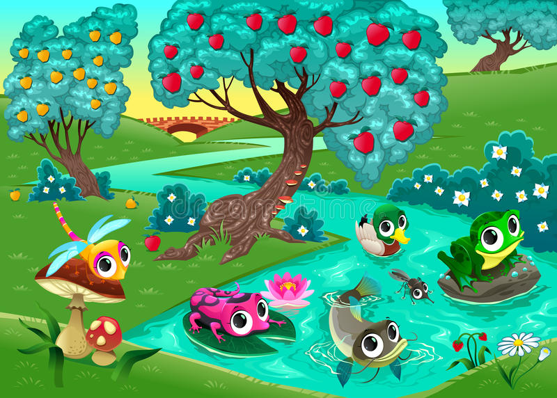Funny animals on a river in the wood royalty free illustration