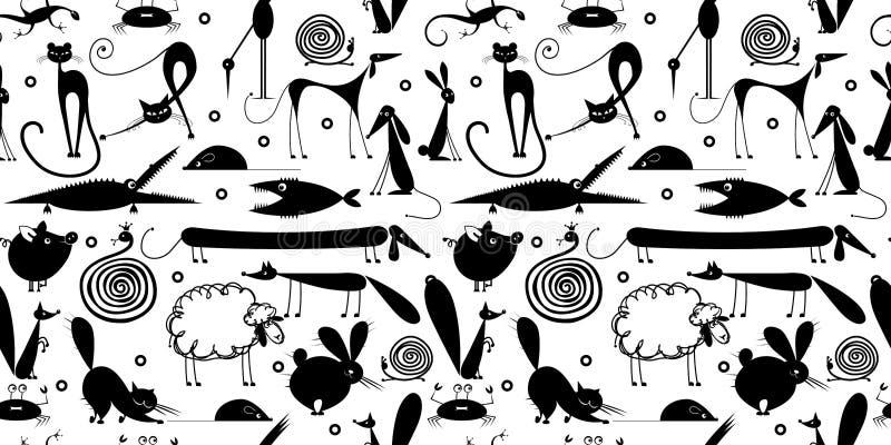 Funny animals, seamless pattern for yor design royalty free illustration