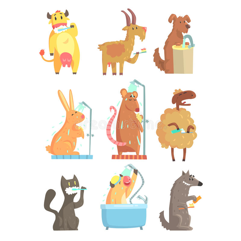 Funny animals taking a shower and washing, set for label design. Hygiene and care cartoon detailed Illustrations. Isolated on white background royalty free illustration