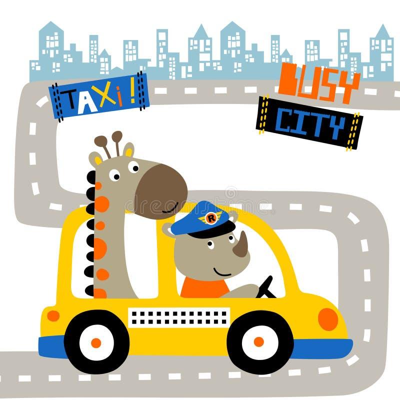 Funny animals cartoon on taxi stock illustration