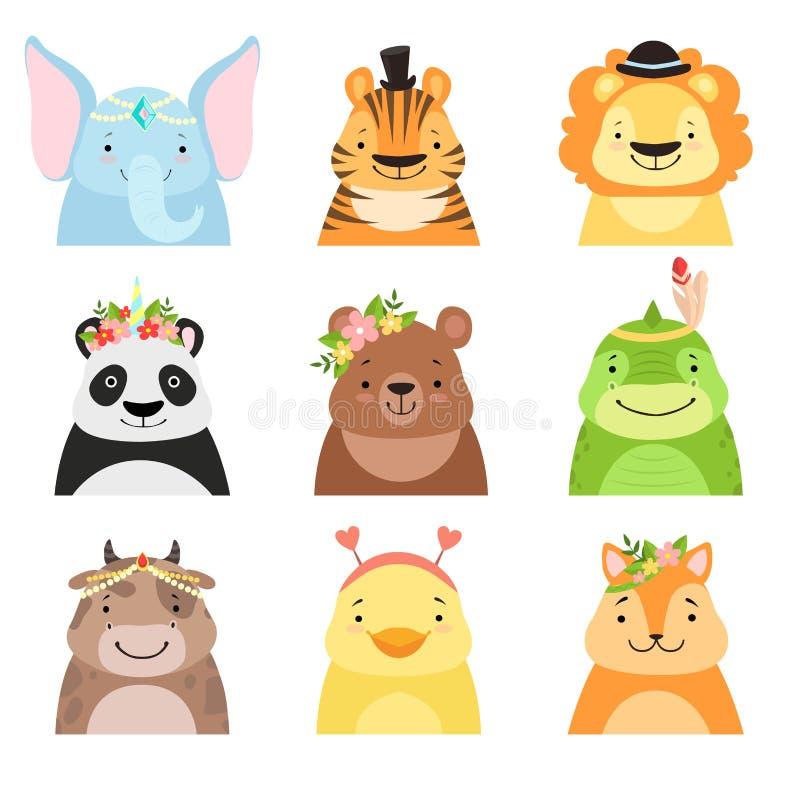 Funny animals wearing different hats set, elephant, tiger, lion, panda, bear, dinosaur, cow, cute cartoon animal avatars stock illustration