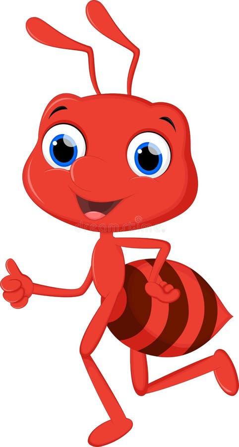 Funny ant cartoon running. Illustration of funny ant cartoon running vector illustration