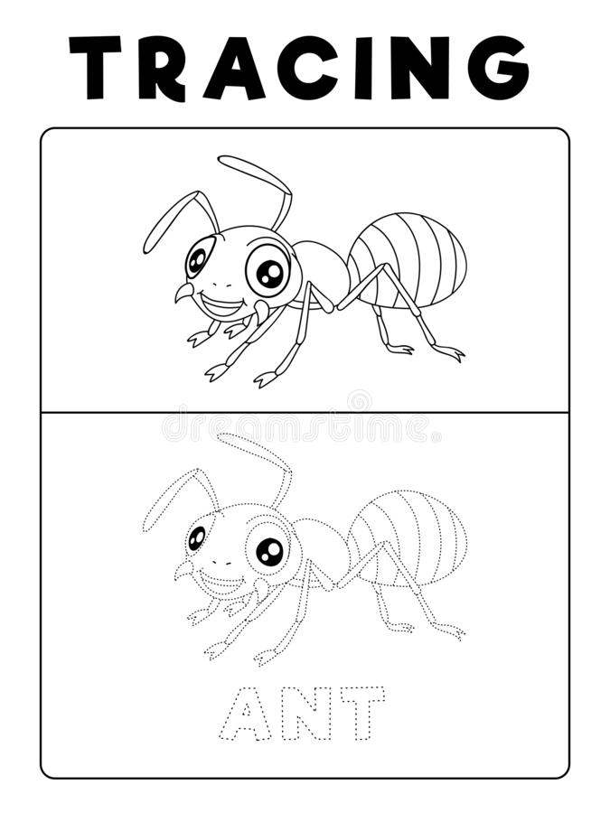 Funny Ant Insect Animal Tracing Book with Example. Preschool worksheet for practicing fine motor skill. Vector Cartoon stock illustration