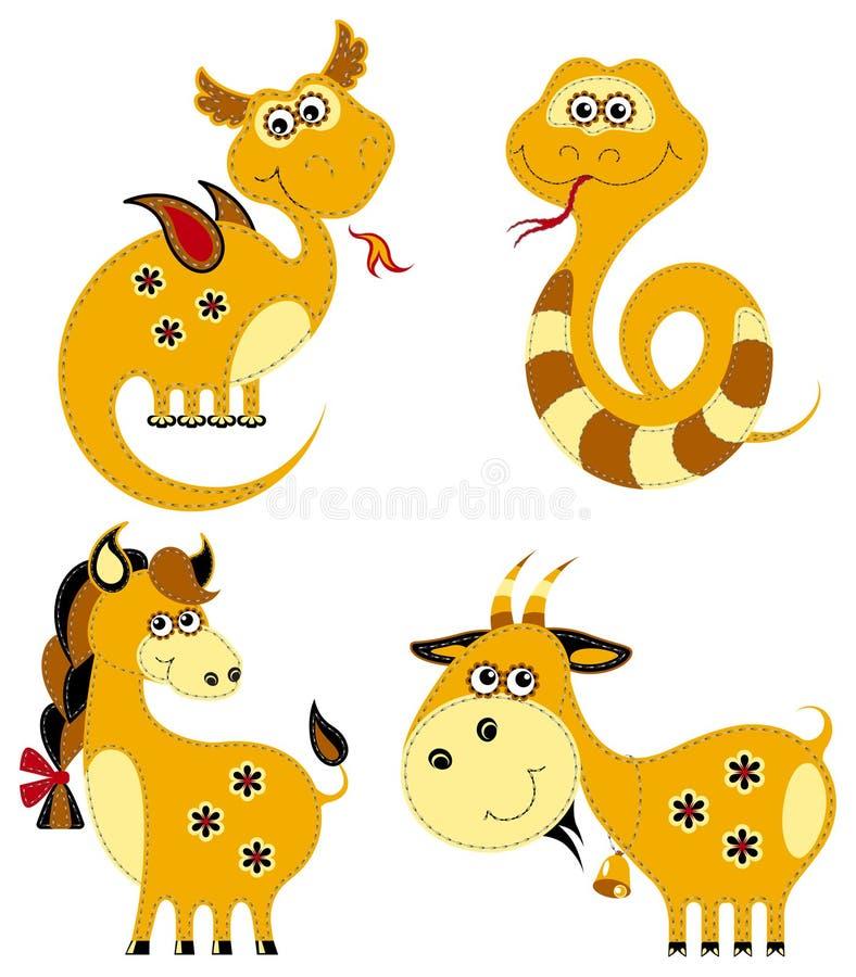 Funny applique chinese horoscope stock illustration