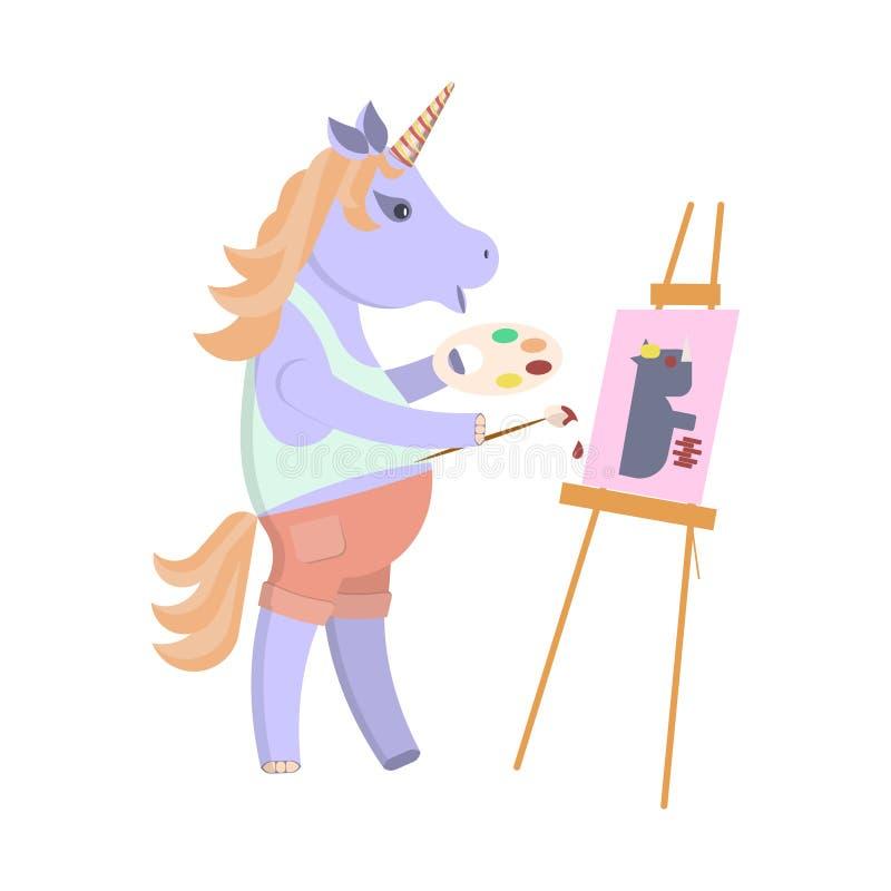 Funny artist animal character royalty free illustration
