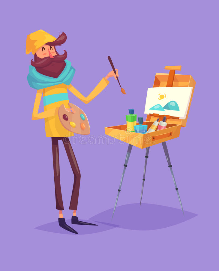 Funny artist character. vector royalty free illustration