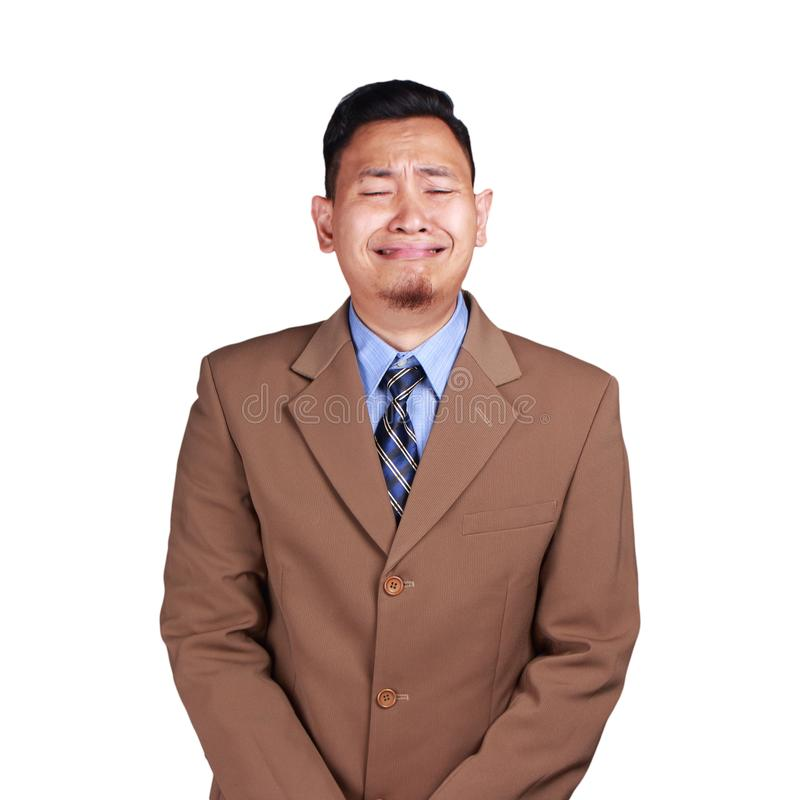 Funny Asian Businessman Crying Hard royalty free stock images