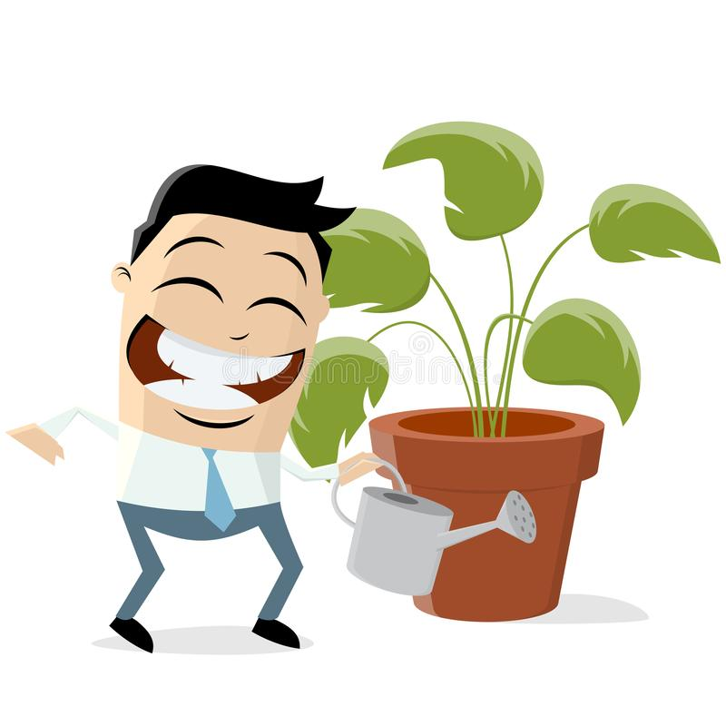 Funny asian businessman with houseplant. Cartoon illustration vector illustration