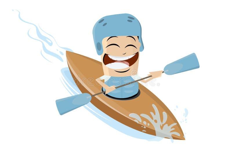 Asian cartoon man using a kayak. Funny asian cartoon man using a kayak royalty free illustration