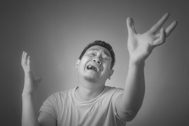 Funny Asian Man Crying royalty free stock photos