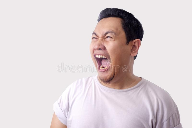 Funny Asian Man Laughing royalty free stock photography