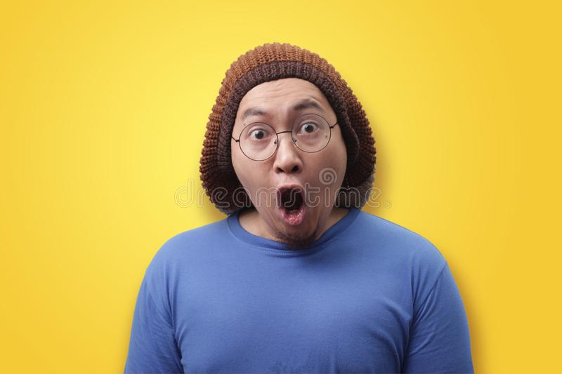 Funny Asian Man Shocked with Mouth Open stock image