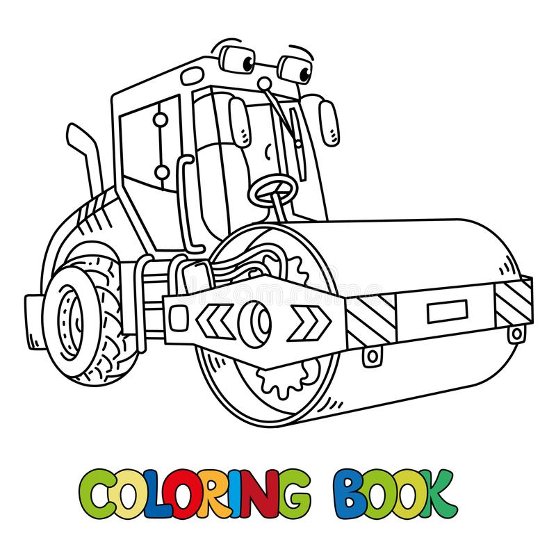 Funny asphalt compactor car with eye coloring book. Asphalt compactor coloring book for kids. Small funny vector cute car with eyes and mouth. Children vector vector illustration